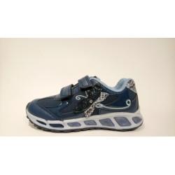 Geox J8406A lélegző bőr kék LED-es átmeneti cipő