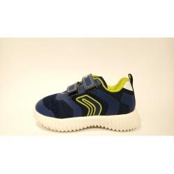 Geox B922BA lélegző bőr kék lime átmeneti cipő